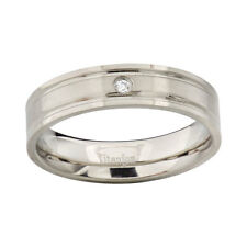 6mm Pip-Cut Satin Top Titanium Grooved Band Round Cubic Zirconia Wedding Ring
