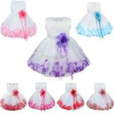 Flower Girls Bridesmaid Rose Petals Dress ALL SIZE Birthday Easter Wedding Party