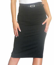 Ladies Skirt High Waist Womens Pencil Bodycon Plain Midi Size 8 10 12 14 16 18