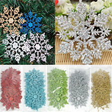 12PCS Glitter DIY Xmas Tree Hanging Snowflake Ornaments Christmas Decoration