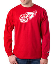 Detroit Red Wings Logo Champion LONG SLEEVE T-Shirt Tagless Tee Red
