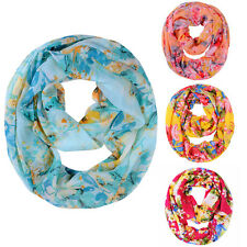 New Beautiful Multicolor Floral Print Chiffon Infinity Scarf Snood Circle Scarf
