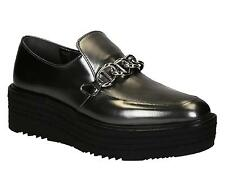 Prada women's wedges loafers chain shoes in anthracite leather Made in Italy
