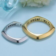 My Sister My Friend Letter Engraved 18K Charm Poesy Ring size 7 Friendship Gift