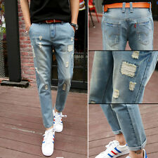 New Men's Jeans Slim Fit Runway Straight Denim Pants Destroyed Ripped Trousers