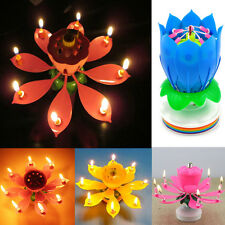 Romantic Musical Lotus Flower Rotating Happy Birthday Party Candle Lights mx