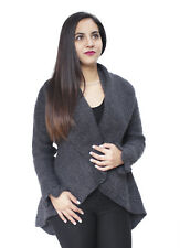 Womens Alpaca Wool Knitted Cardigan Open Coat Sweater Crocheted Cuff Design