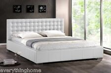 MODERN WHITE FAUX LEATHER QUEEN OR KING PLATFORM BED FRAME WITH PADDED HEADBOARD