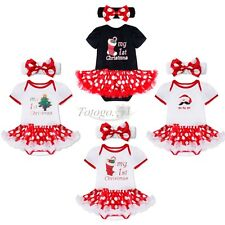 Infant Baby Girls Christmas Santa Claus Tree Tutu Dress Up Romper Outfit Costume
