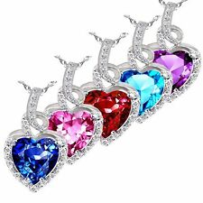 "2.00Ct Sterling Silver Heart Cut AAA Created Gemstone Pendant Necklace 18"" Chain"