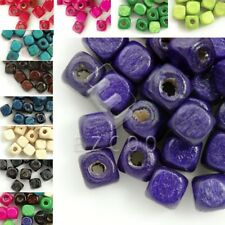 Approx 300pcs 30g 6x6mm Cube Wooden Wood Spcer Beads Fit Bracelet NecklaceColorf