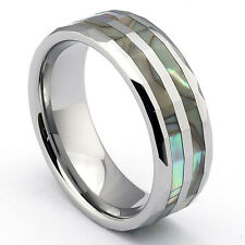 Wolfram Tungsten Ring Partner Ring Abalone Shell Mother Of Pearl Inlay Inlay NEW