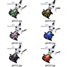 g621m23 Lovely Animal Cat Flower Bead Murano Lampwork Glass Pendant Necklace New