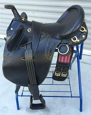 "18"" NEW BLACK LEATHER AUSTRALIAN STOCK SADDLE PACKAGE BY OUT BACK SADDLE CO."