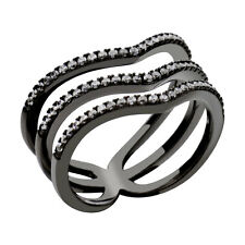 Black Sterling Silver Three Rows Clear Round Cubic Zirconia Women's Wedding Ring