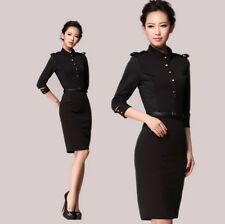 Formal Trendy Womens OL Stand Collar Belt Zip Career Suits Retro Military Dress