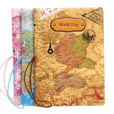 Faux Leather Passport Holder Case Travel Cover ID Credit Card Holder World Map