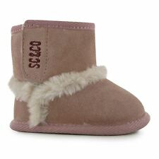 SoulCal Kids Snug Bootie Baby Girls Crib Shoes Faux Fur Suede Ankle Boots