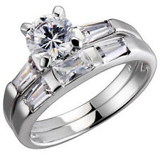 Sterling Silver Round Cubic Zirconia Baguette Accent Engagement Wedding Ring Set