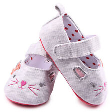 Toddler Infant Baby Girls Crib Shoes Dress Ballet 0-18 months Cute Smile Cat