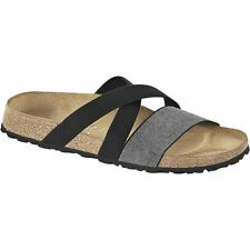 Papillio By Birkenstock COSMA Ladies Womens Stretch Flat Sandals Black/Silver