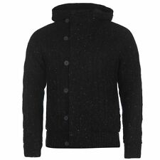 Firetrap Mens Lined Knit Cardigan Hooded Jumper Long Sleeve Button Front Top