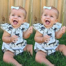 Newborn Toddler Infant Baby Girls Deer Romper Jumpsuit Bodysuits Outfits Clothes