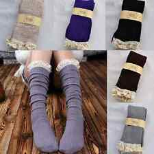 fashion Crochet Lace Cotton Knit Footed Leg Boot Cuffs Socks Knee High Stockings