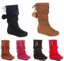 New Toddlers Girl Mid Calf 3 Layer Fringe Boots CANDICE-16KA