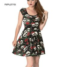 Banned Clothing Mini Gothic Skater Dress GREEN WITH ENVY Skulls Roses All Sizes