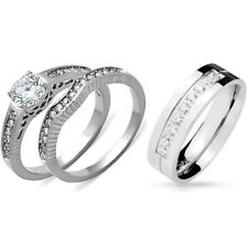His Hers 3 PCS Womens Round CZ Wedding Ring Set / Mens 9 Round Cut CZs Band