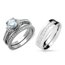 His Hers Luxury Round Cut CZ Engagement RING SET/ His 9 Round Cut CZs Band