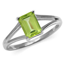 1.08ct. Natural Peridot 925 Sterling Silver Solitaire Ring