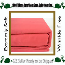 5 Sizes 1000TC Microfibre Super Soft Sheet Set,Quilt Cover Set-Cherry