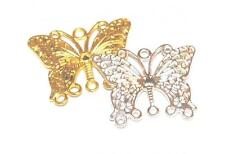 10 or 50 SILVER / GOLD PLATED CHANDELIER EARRING CRAFT FINDINGS BUTTERFLY