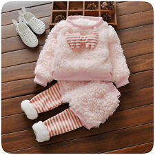 Toddler Kids Baby Girls Winter warmth Outfits Clothes T-shirt Tops+Pants 2PC Set