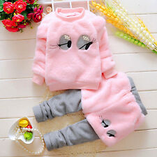 2PC Toddler Kids Baby Girls Winter warmth Clothes T-shirt Tops+Pants Outfits Set
