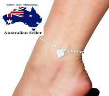 Clear Crystal Rhinestone LOVE HEART Charm Anklet barefoot Bridal jewellery