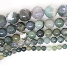 """4 6 8 10 12 14 mm Natural green Moss Agate Round Gem Loose Beads 15"""" Strand"""
