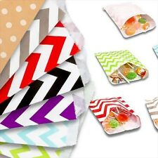 x25 Paper Treat Bags Candy Sweet Shop Retro Packets Polka Dot Chevron Heat Seal