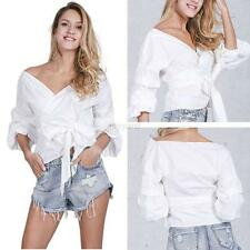 Women Fashion V Neck Off Shoulder Shirts Long Sleeve Casual T-shirt Blouse Tops