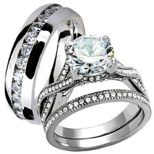 His Hers 3.15 Ct Stainless Steel CZ Infinity Wedding Engagement Ring Band Set