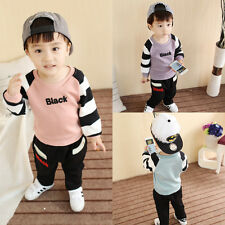 2PCS Toddler Kids Baby Boys Outfits Long Sleeve Tops +Pants Clothes Set