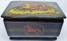 EXCEPTIONAL ANTIQUE MSTERA RUSSIAN LACQUER BOX TROIKA TROYKA 3 HORSES SIGNED