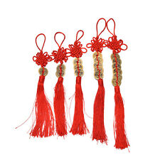 Chinese Feng Shui Protection Fortune Lucky Charm Red Tassel String Tied Coins TO