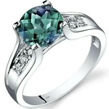 14K White Gold Created Alexandrite Diamond Cathedral Ring 2.25 Cts Sizes 5-9