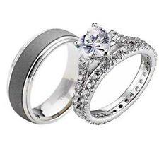 His and Hers Wedding Ring Sets 3 pcs Engagement CZ Sterling Silver Titanium Band