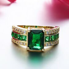 Gold Plated Band Ring Rhinestone Green Glass Quartz Ring Finger Jewerly Gift