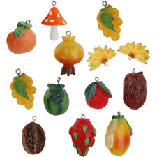 12pcs Miniature Cute Resin Fruit Charms Pendents for DIY Jewellery Making