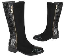 NEW LADIES WOMENS KNEE HIGH FAUX CROC LEATHER / SUEDE RIDER BOOTS SHOES SIZE 3-8